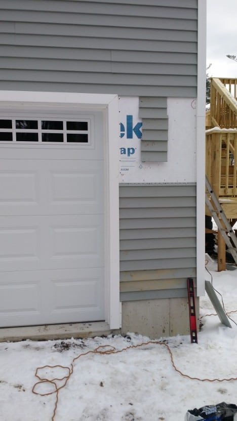 Here is siding repair we performed in Dover NH, an example of our light home repair services.