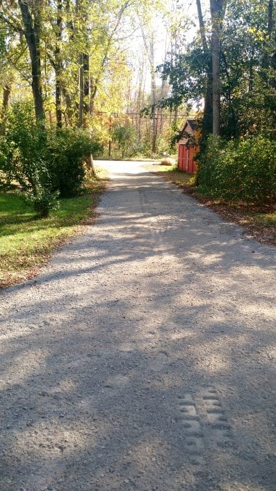 Here is an example of driveway grading we performed in Rochester NH, before the grading was done.